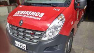 Motociclista é socorrida após acidente nesta tarde em Guaramirim