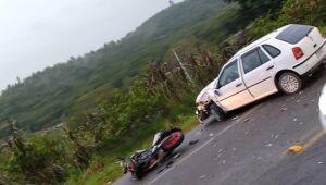 Motociclista é socorrido após acidente na BR-280, em Guaramirim