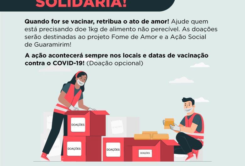 Guaramirim inicia campanha para doação de alimentos durante vacinação do coronavírus