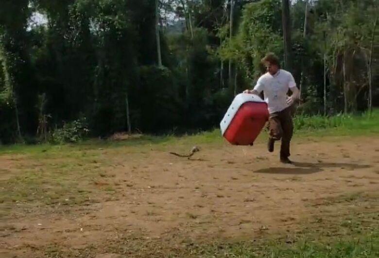 (Vídeo) lagarto é resgatado de motor de carro da prefeitura em Jaraguá do Sul
