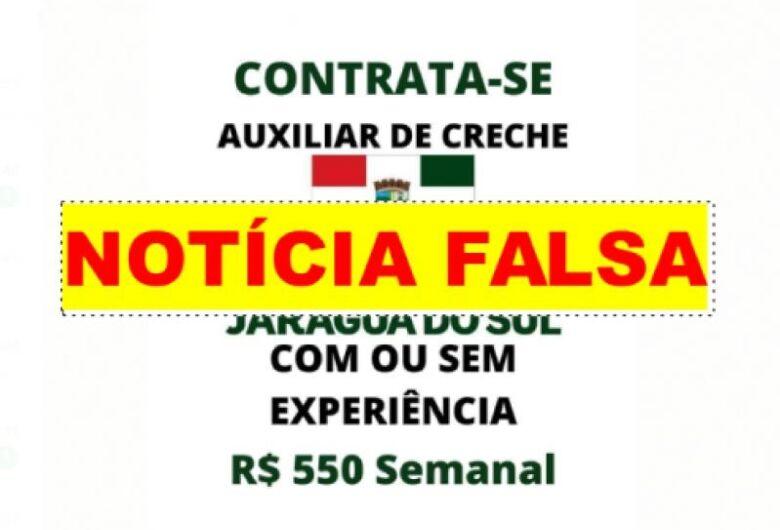 """Contratação de """"auxiliar de creche"""" em Jaraguá é fake news"""