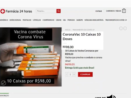Procon/SC alerta consumidores sobre falsa venda de vacinas contra Covid-19 pela internet - Crédito: Reprodução