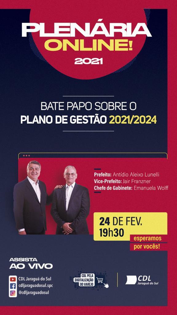 Prefeito e vice participam da plenária da CDL de Jaraguá desta quarta  - Crédito: Divulgação