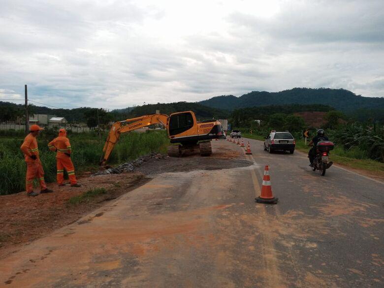 Finalizada obra de reparo na BR 280 em Nereu Ramos  - Crédito: Divulgação PRF