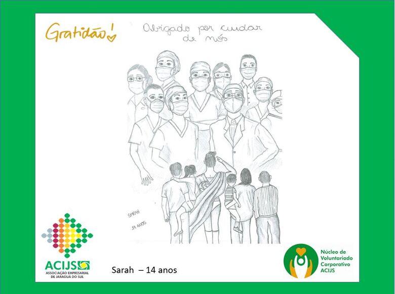 Crianças homenageiam profissionais de saúde de Jaraguá  - Crédito: Divulgação