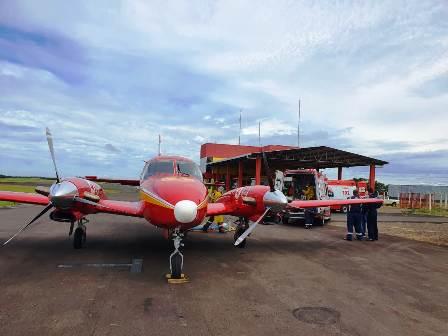 Primeiro paciente de Santa Catarina é transferido para o Espírito Santo - Crédito: Corpo de Bombeiros Militar de  Santa Catarina
