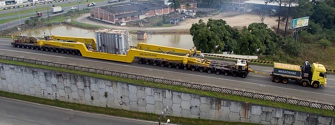 Escolta de transformador da Weg  causará lentidão na BR 470 neste sábado - Crédito: Divulgação