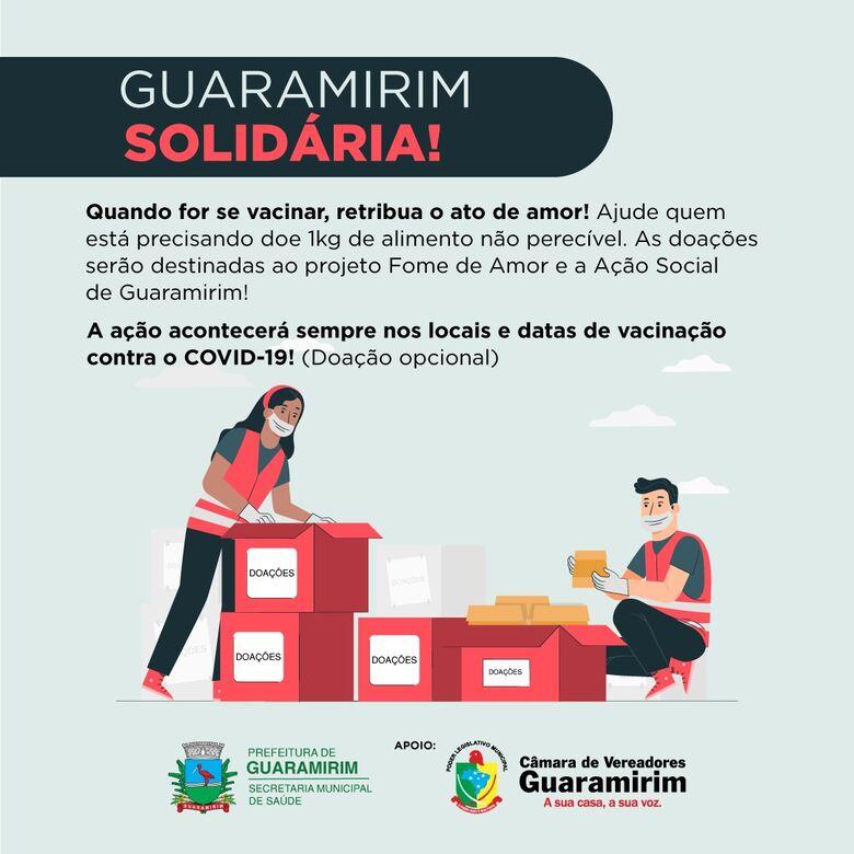 Guaramirim inicia campanha para doação de alimentos durante vacinação do coronavírus - Crédito: Divulgação