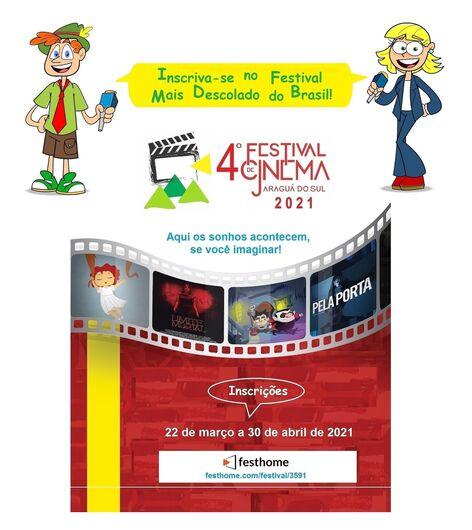 Inscrições para o Festival de Cinema de Jaraguá terminam no dia 30 de abril - Crédito: Divulgação