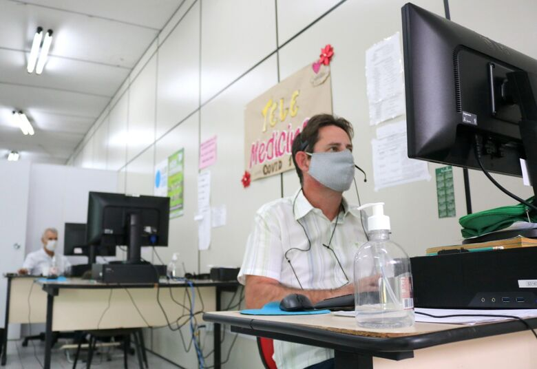 Central covid de Jaraguá registrou mais de 4,2 mil teleconsultas em março - Crédito: Divulgação / PMJS
