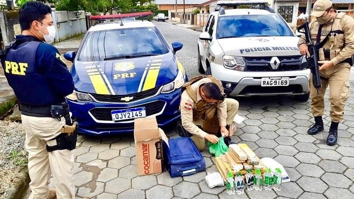 Traficante tenta fuga, mas é preso com grande quantidade de drogas em Joinville - Crédito: Divulgação