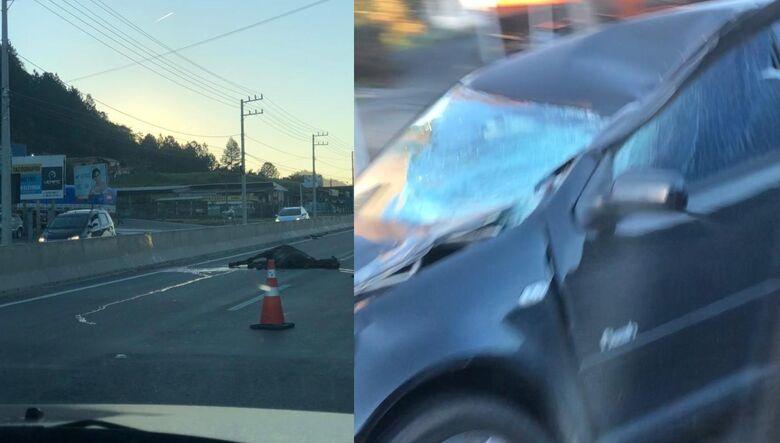 Jovem é socorrido após acidente envolvendo cavalo, moto e carro na BR-280, em Guaramirim   -