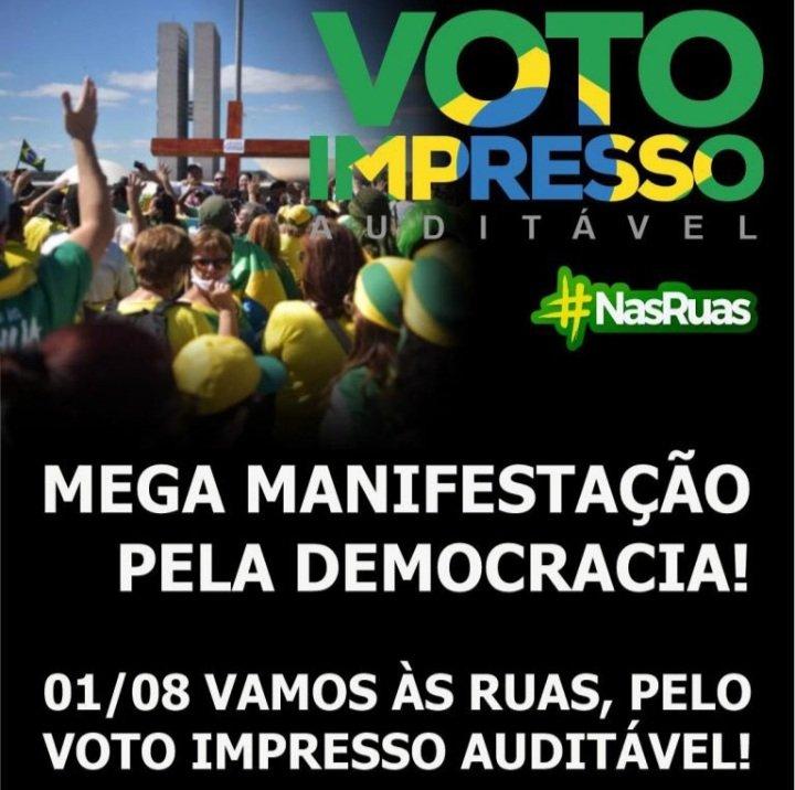 Jaraguá terá manifesto em favor do voto impresso - Crédito: Arquivo / Divulgação