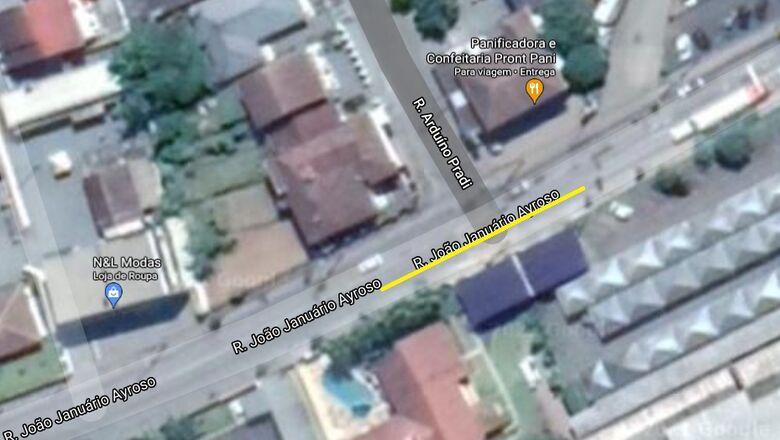 Interdição de trecho da rua João Januário Ayroso nesta quinta - Crédito: Divulgação
