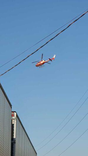 Helicóptero Arcanjo foi acionado para dar apoio neste grave acidente em Jaraguá do Sul - Crédito: Carol Roling