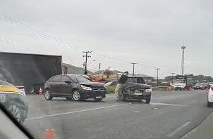 Duas pessoas ficam feridas em acidente na BR-280, em Guaramirim - Crédito: Divulgação