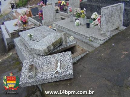 Menores detidos por vandalismo em cemitério